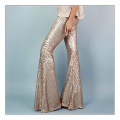 Magical sequin flares in a most dreamy sahara beige color. Super flattering cut on 4 way stretch power mesh fitting snugly to the knee and gorgeous. Beige Color, Bell Bottoms, Dress To Impress, Cool Outfits, Vintage Fashion, Women's Fashion, Sequins, Couture, My Style