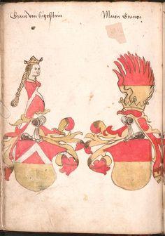 Wernigeroder (Schaffhausensches) Wappenbuch Süddeutschland, 4. Viertel 15. Jh. Cod.icon. 308 n  Folio 64v