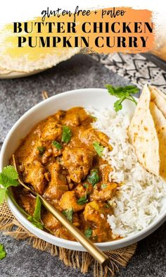 This hearty pumpkin curry is an autumnal twist on a classic butter chicken. Pumpkin puree replaces heavy cream for a lighter, healthier, but just as hearty curry. Diced chicken pieces marinate in a spiced yogurt Pumpkin Puree Recipes, Pureed Food Recipes, Curry Recipes, Indian Food Recipes, Cooking Recipes, Healthy Recipes, Healthy Food, Butter Chicken, Diced Chicken