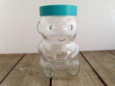 Vintage Skippy Peanut Butter Teddy Bear Glass Jar by ThePinkRoom Skippy Peanut Butter, Creamy Peanut Butter, Mason Jar Wine Glass, Teddy Bear, Memories, Awesome, Vintage, Memoirs, Souvenirs
