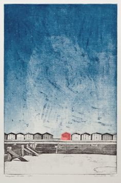 Beach - Seaside Print - Beach Hut at Frinton on Sea - Original Hand Pulled Print - 'Beach Hut' Etching by William White- FREE SHIPPING by williamwhiteart on Etsy https://www.etsy.com/uk/listing/89362309/beach-seaside-print-beach-hut-at-frinton