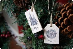 Use rubber stamps on unpainted salt dough ornaments for a look that's both elegant and rustic.