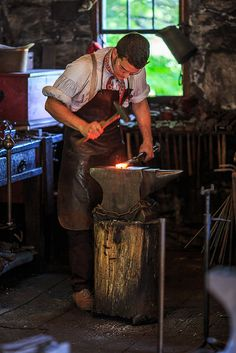 colonial blacksmith workshop. old sturbridge village blacksmith colonial workshop