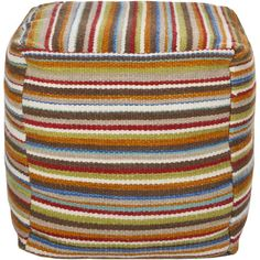 Perfect as a chic footrest, this lovely pouf is crafted of wool and cotton and showcases a striped pattern.   Product: Pouf
