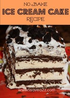 Ice Cream Sandwich Cake Recipe! -♥- So easy..all you need is 1 box of twelve Ice Cream Sandwiches (or two boxes for a large cake), 1 tub of Whipped Cream, Magic Shell Caramel, and Magic Shell Chocolate.