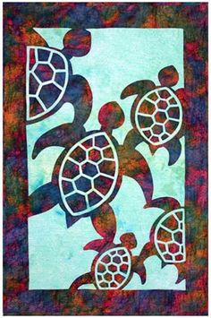 Herd of Turtles Quilt Pattern Pacific Rim Quilt Company DIY Quilting Sewing Applique Hawaiian Quilt Patterns, Applique Quilt Patterns, Hawaiian Quilts, Applique Fabric, Hawaiian Crafts, Applique Designs, Quilting Projects, Quilting Designs, Diy Quilting