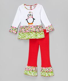 (Love this) Look at this #zulilyfind! White Penguin Tunic & Pants - Infant, Toddler & Girls by AnnLoren #zulilyfinds