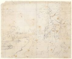 Study for Flatford Mill, by John Constable; the pencil tracing for the painting [Compare to the painting. English Romantic, Tate Britain, Landscape Architecture, New Art, Painting & Drawing, Landscape Paintings, Vintage World Maps, Study, Drawings