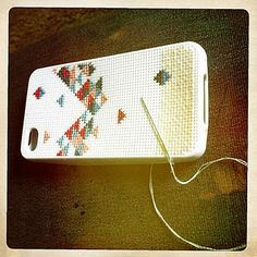#iphone #cross #stitch #case    Here is my iphone cross stitch case!! i had so much fun making it! this picture shows it not finished but i did finish it!
