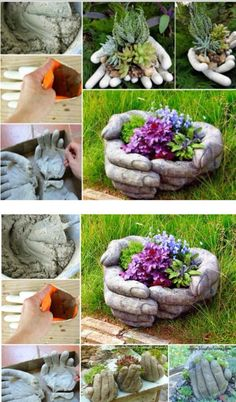 Cement Hand Planters. Pour casting concrete into rubber gloves, being carefully to remove air bubbles from fingers. Mould into position working fast before concrete sets. When set, peel of rubber gloves revealing your concrete planter.