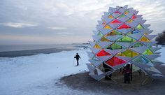 Snowcone Designed by a student team from Ryerson's Department of Architectural Science, this vibrant, geodesic dome-like structure resembles a giant pine cone. Its translucent acrylic panels bring some much-needed colour to the surrounding winter landscape.