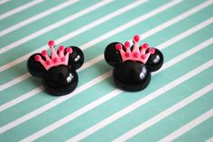 Minnie Mouse Earrings -- Minnie Mouse, Crown Minnie Mouse Earrings, Big Minnie Mouse Earrings