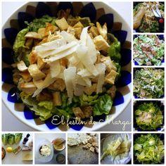 El festín de Marga: Ensalada Cesar de pollo con pan de maíz y queso ca...