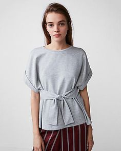 heathered tie waist rolled sleeve tee