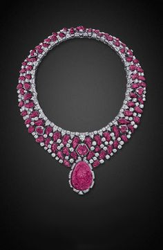 Graff. Carved ruby, tourmaline and diamond necklace