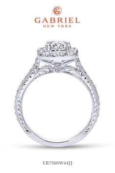 Halo Cushion Cut White Gold Engagement Ring