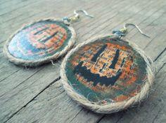 Halloween Jack-o-Lantern Earrings - Upcycled recycled repurposed Paper Earrings  Jack by EarthChildArt, $12.00