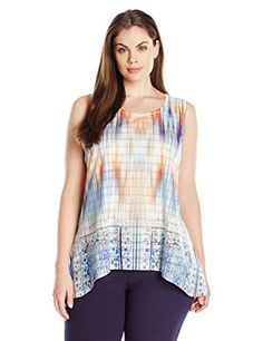 OneWorld Womens Plus Size Sleeveless Textured Knit Lace Trim Tank with Hi Lo Hem Fair ChanceSandstone 1X * To view further for this item, visit the image link.