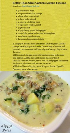 Best 2 reduced fat evaporated milk recipe on pinterest - Olive garden zuppa toscana crock pot ...