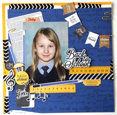"'Back to School"" Layout by Amanda Baldwin DT Kaisercraft [2 Cool 4 School Collection] ~ Scrapbook Pages 1;"