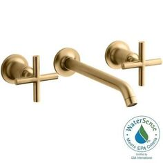 KOHLER Purist Wall-Mount 2-Handle Bathroom Faucet Trim Kit in Vibrant Modern Brushed Gold - K-T14415-3-BGD - The Home Depot