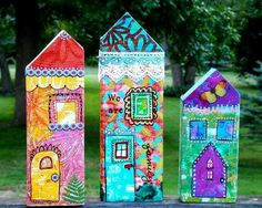 Wendy High - Covered cutouts from wood boards with Gelli Prints. (Dollar Tree has paper Halloween houses? Wooden Crafts, Paper Crafts, Halloween House, Paper Halloween, Gelli Plate Printing, Driftwood Art, Mixed Media Canvas, Little Houses, House In The Woods
