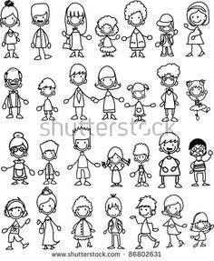 Doodle Members Of Large Families Stock Vector Illustration 86802631 : Shuttersto. Doodle Drawings, Cartoon Drawings, Easy Drawings, Doodle Art, Tangle Doodle, Cartoon Images, Learn To Draw, How To Draw Hands, Tattoo Painting