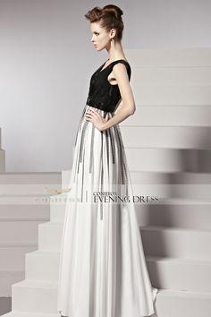 Elegant Low V Neck Sleeveless Prom Dress #prom2k15 #promdress #dress #fashion #glam #designerpromdress