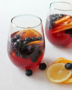 Blueberry Sangria Summer Cocktail Recipe - U.S. Highbush Blueberry Council #Blueberry #Sangria #Summer #Cocktail #Recipes