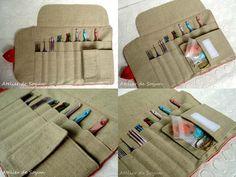Crochet Hook Case Hook Holder Needle Case Organizer Craft Bag in textured Charcoal Grey. $48.00, via Etsy.