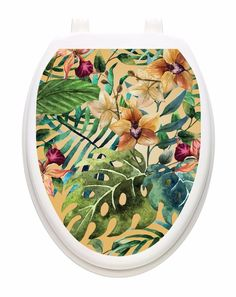 Toilet Tattoo Tropical Forest  Bathroom Lid Vinyl Removable Decoration 1137 #ToiletTattoos