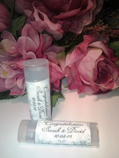 Personalized Wedding (or Shower) Blue Damask Lip Balm - Wicked Wench Soapworks. We can make completely custom labels too