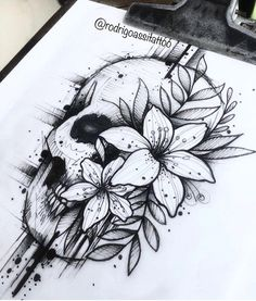 Archive of sketches for tattoos. Skull Rose Tattoos, Leg Tattoos, Body Art Tattoos, Cool Tattoos, Thigh Piece Tattoos, Tatoos, Skull Sleeve Tattoos, Dark Art Tattoo, Tattoo Sketches