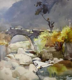 ~ painting by Liu Yi Watercolor Pictures, Watercolor Artists, Watercolor Landscape, Abstract Landscape, Landscape Paintings, Watercolour Painting, Painting & Drawing, Watercolors, Art Aquarelle