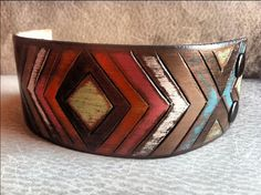Leather Tribal Chevron Bracelet Chevron Jewelry Tribal by dgierat, $52.00