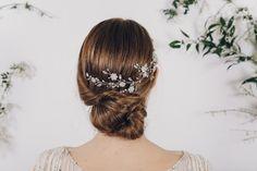 Sparkling Swarovski crystal and pearl silver bridal hair vine - Sydney