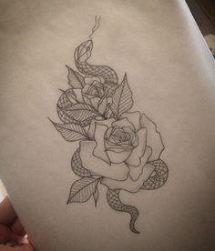 Rose & Snake Tattoo by Medusa Lou Tattoo Artist - medusaloux@outlook.com