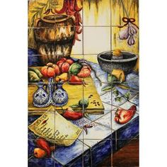 NEW!! Fresh Salsa Tile Mural $419.00.  Majolica pottery originated in the 16th century and is primarily distinguished by the milky-white glaze used after the first firing.