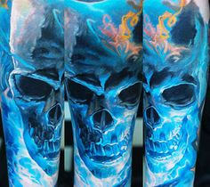 Perfect realistic Blue Skull tattoo motive by Domantas Parvainis