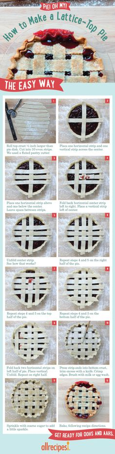 Learn how to weave a decorative lattice-top pie crust with an easy step-by-step guide, and get top-rated recipes for pies and crusts. Steak Recipes, Potato Recipes, Hallumi Recipes, Hotdish Recipes, Lasagna Recipes, Spinach Recipes, Sandwich Recipes, Shrimp Recipes, Italian Recipes