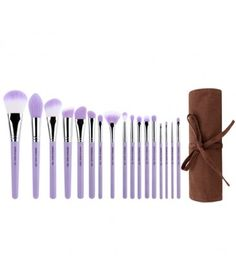 Purple Bambu Precision 17pc. Brush Set with Roll-up Pouch Brush Kit, Eye Makeup Brushes, Makeup Kit, Lip Makeup, Makeup Tools, Beauty Brushes, Makeup Products, Make Up, Contour With Eyeshadow