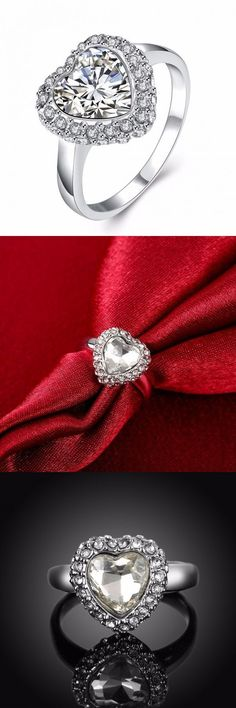 Platinum Heart Crystal Full Rhinestone Wedding Ring Gift For Women Jewelry Websites
