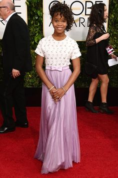 Quvenzhane Wallis in Armani Quvenzhane Wallis arrives at the annual Golden Globe Awards at the Beverly Hilton Hotel on Sunday, Jan. in Beverly Hills, Calif. (Photo by Jordan Strauss/Invision/AP) Golden Globe Award, Golden Globes, Wallis, Black Celebrities, Celebs, Annie, Beverly Hills, Beautiful Dresses, Nice Dresses