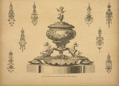 Gold ear-rings with stones and enamel, silver inkstand. - NYPL Digital Collections
