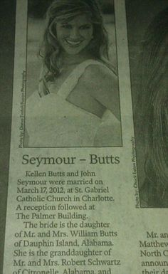 Funny Wedding Announcements Names Odd Names, Funny Names, Funny Signs, Wedding Name, Wedding Humor, Flash Funny, I Got Your Back, Newspaper Headlines, Wedding Announcements