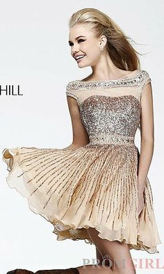 Short Sequin High Neck Dress with Cap Sleeves by Sherri Hill 8518 at PromGirl.com