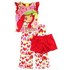 a4d0f24b5d Amazon.com  Strawberry Shortcake Girls Red 3 pc Pajamas Set (4)  Clothing