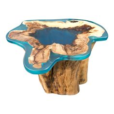 Modern Organic Tree Stump Resin Side Table  - Slice Cracked Wood Resin End Table - Custom Furnishings by casamedicimodern on Etsy https://www.etsy.com/listing/504190765/modern-organic-tree-stump-resin-side