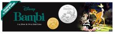 The New Zealand Mint is adding to their ever expanding selection of Disney coins by celebrating the Mint Coins, Gold Coins, Bambi 1, 1 Oz, New Zealand, Anniversary, Celebrities, Disney, Silver