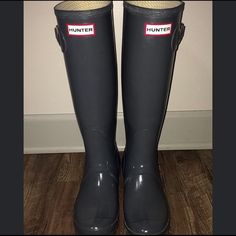 Hunter Women's Original Tall Rain Boots Grey. Very lightly worn (5-6 times). Selling because I rarely wore them. $150 retail price. Run a little big (fit me well, and I'm a 7.5 shoe size). Hunter Boots Shoes Winter & Rain Boots